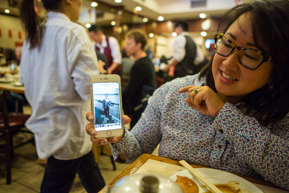Charlene, showing me a picture of her grandpa, who opened a Chinese restaurant in Weymouth, Mass. in the 1970's.