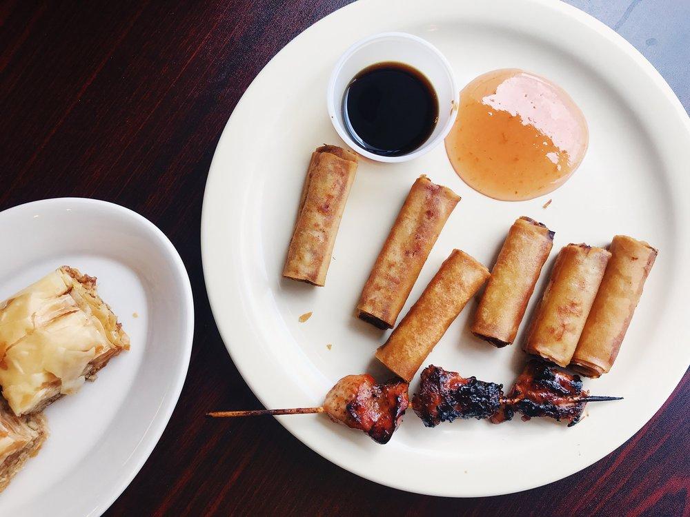 Lumpia and baklava at MediterrAsian Bistro, a Filipino fusion restaurant, in Durham North Carolina