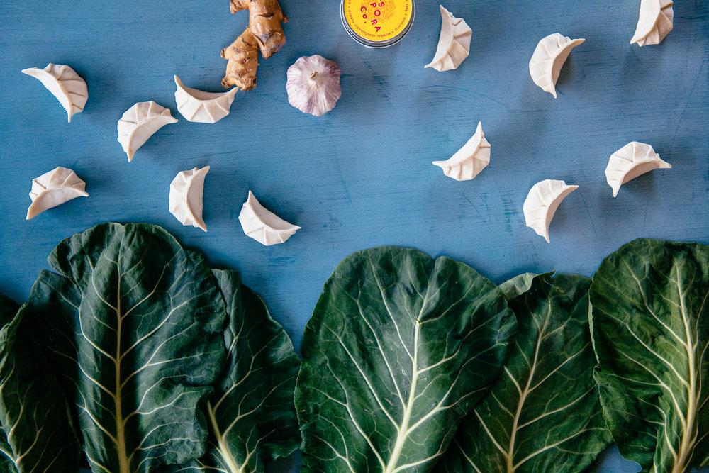 Turmeric Coconut Collard Dumpling Soup, Photo by Mackenzie Smith Kelley and Lauren V. Allen