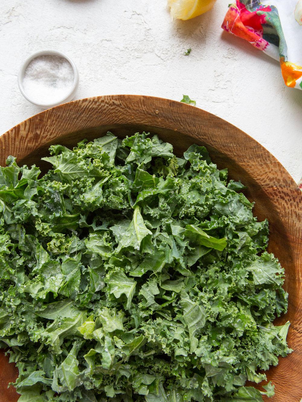 Raw kale before adding lemon juice to tenderize the kale. Photo by  Mackenzie Smith Kelley