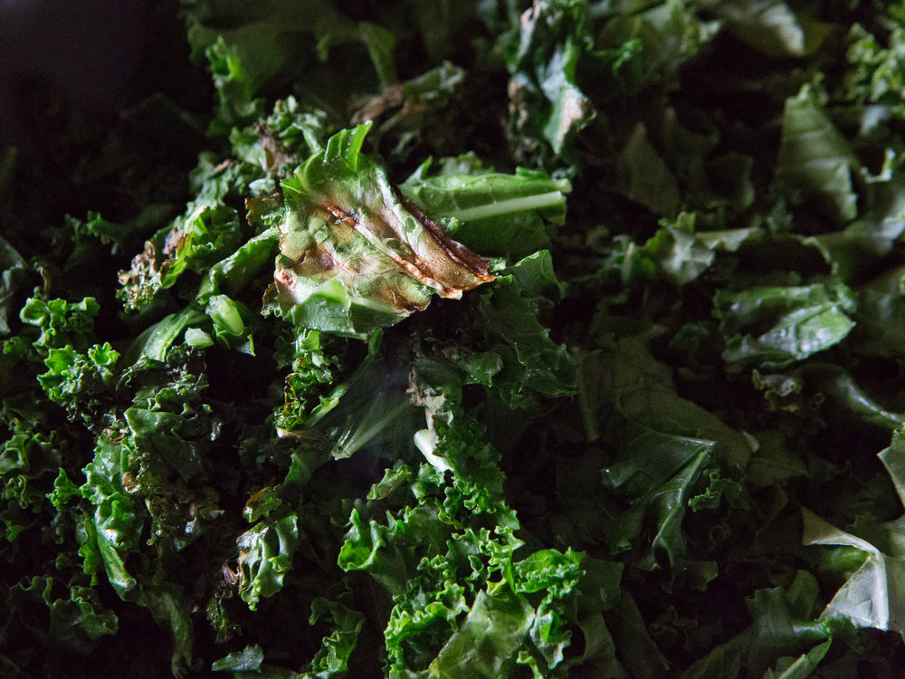 This is what all of the kale on the bottom layer of the pan should look like before you stir it!
