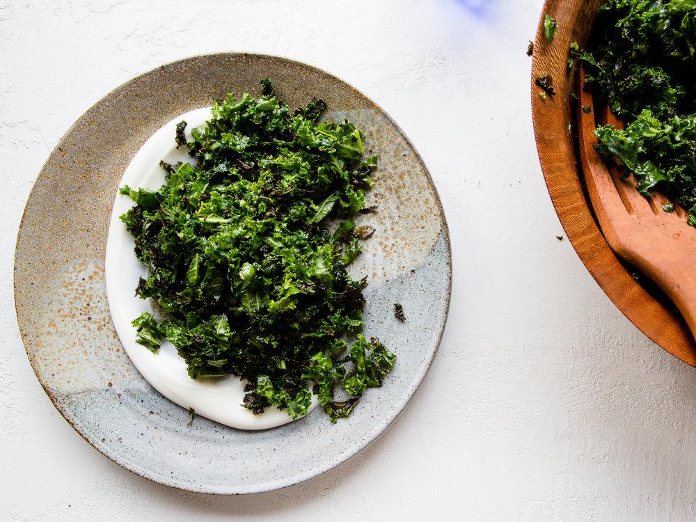 I really enjoy a big serving of crispy charred kale salad with a swoop of plain yogurt!