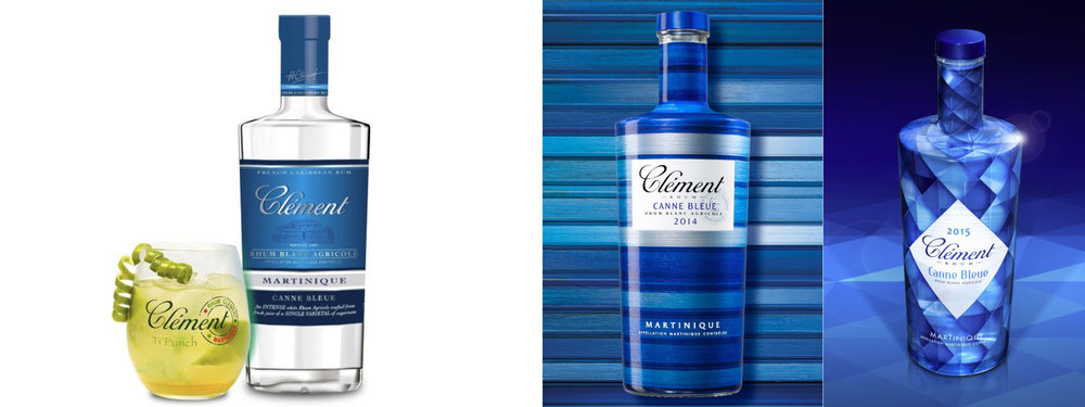 US static packaging for Rhum Clément Canne Bleue, vs. yearly package design in Europe & Island markets. The Canne Bleue is a batch specific yearly release, but US packaging doesn't change because the TTB makes it too difficult.