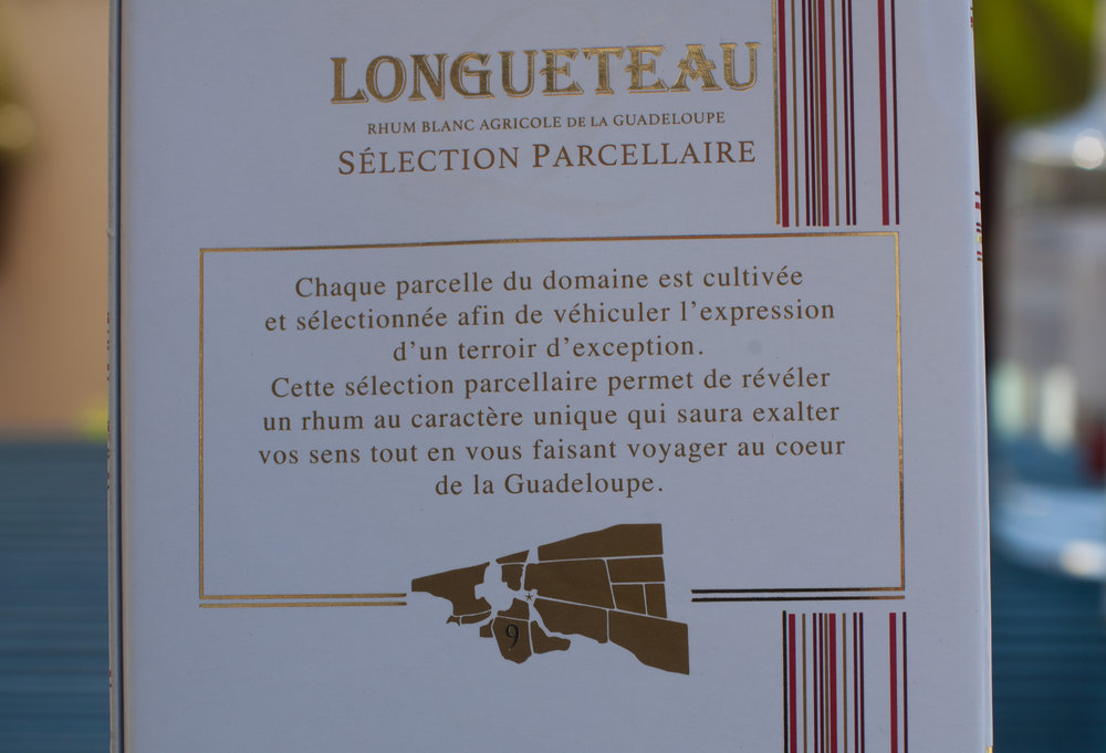 Map on the packaging of Rhum Longueteau Parcellaire no. 9, showing the location of the specific parcel where the cane was grown.