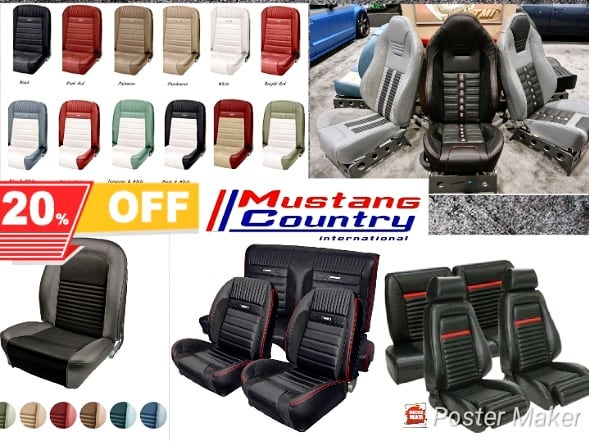 20% off all interior soft trim in the month of November. We are also having 5% off on installation. All year Mustangs! #mustangupholstery #mustangparts #mustang #mustangwheels #shelby #mustangcountryinternational