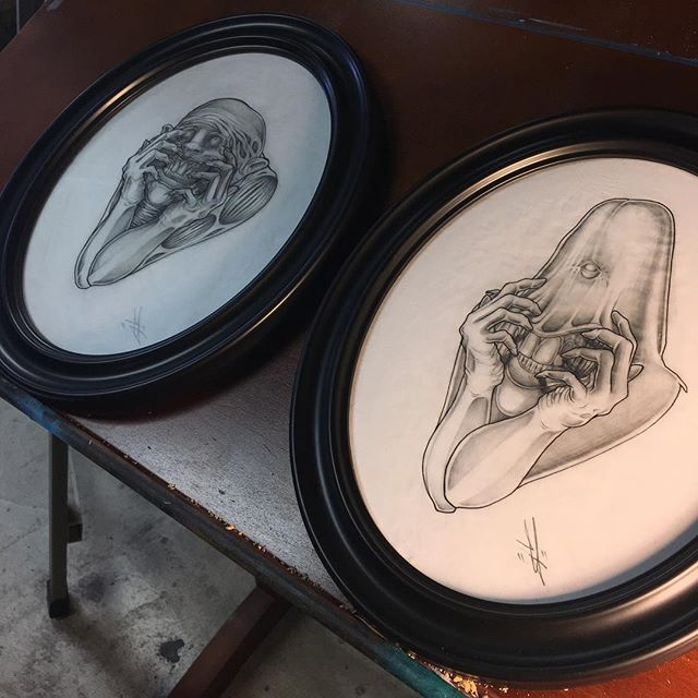 Framing time! I'll have these original drawings up for sale in my shop tonight and on display next week for the RAW artists event. Tickets are still available! 🙌🏼😎.....LINK IN BIO #art #arte #artist #drawing #pencil #micronpen #draw #graphite #ink #pen #illustration #illustrator #frame #artlife #portrait #creepy #darkart #anxiety #faces