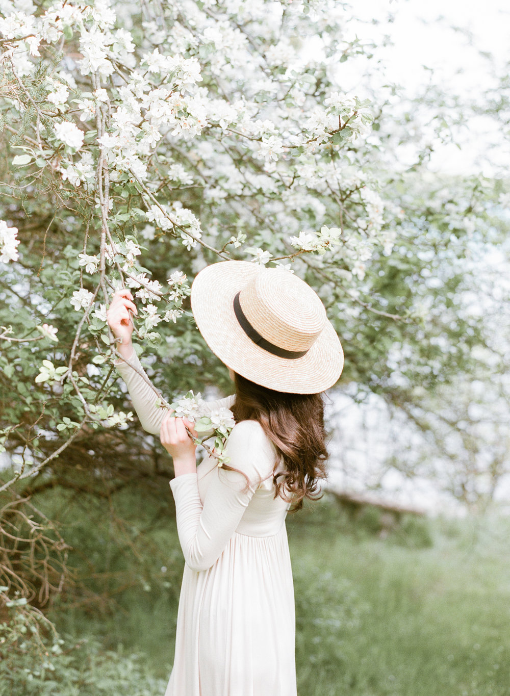 Jacqueline Anne Photography Captured on Film, A Woman in a Cream Dress, admiring the blossom tree