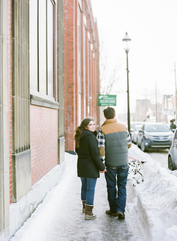Halifax Wedding Photographer, winter engagement session, Truro Nova Scotia, Canadian Engagement Session, Jacqueline Anne Photography, Dog in engagement session, Film Engagement Session