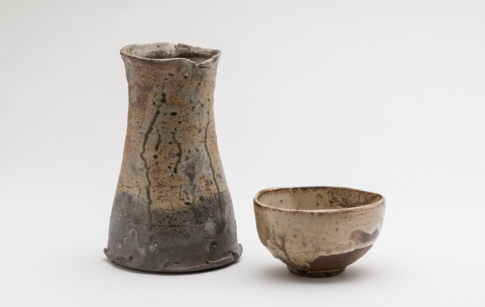 Milton Moon, Vase Form and Chawan (tea bowl), stoneware, tallest 21.5cm, c.1988 and c.1998. Photo Christopher Sanders.jpg
