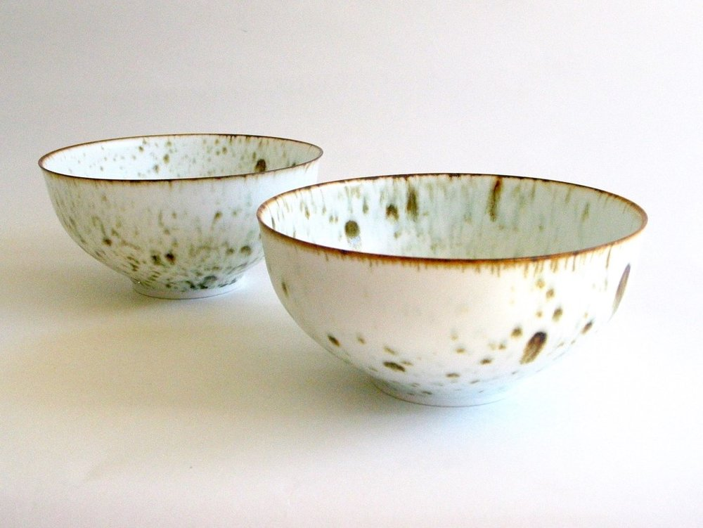 Arnaud Barraud,  Bowls , porcelain, iron oxide, eggshell glaze, various dimensions SOLD