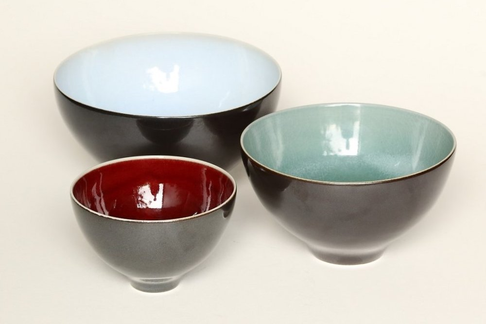 Brian Keyte Chun, celadon & copper red black bowls.jpg