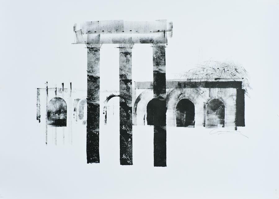 Columns II - Variations on a Theme, 2011, ink on paper by Victor Greenaway