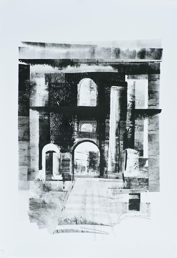 Ancient Basilica, Rome, 2011, ink on paper by Victor Greenaway