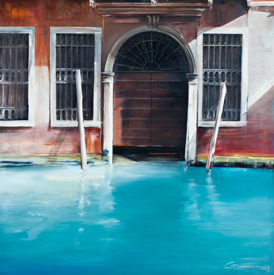 Boat Shed, sestiere di Dorsodro, Venice, 2009, oil on canvas by Victor Greenaway