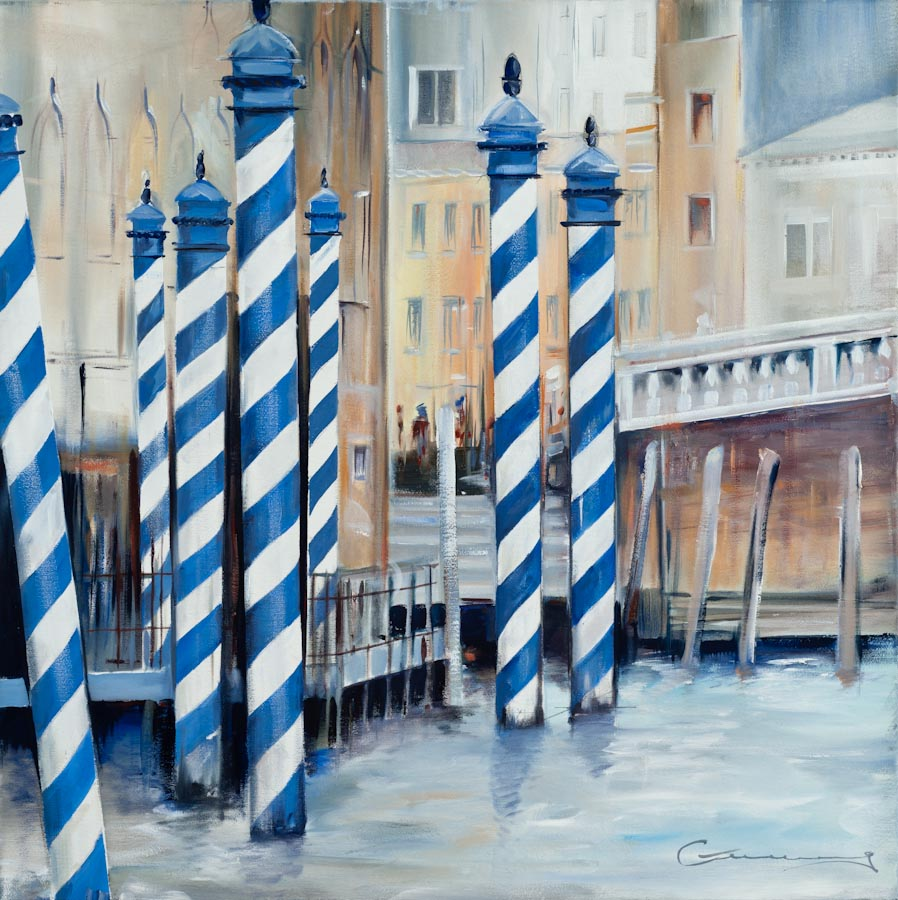 Blue Mooring Poles, Ponte dell' Accademia, Venice, 2009, oil on canvas by Victor Greenaway