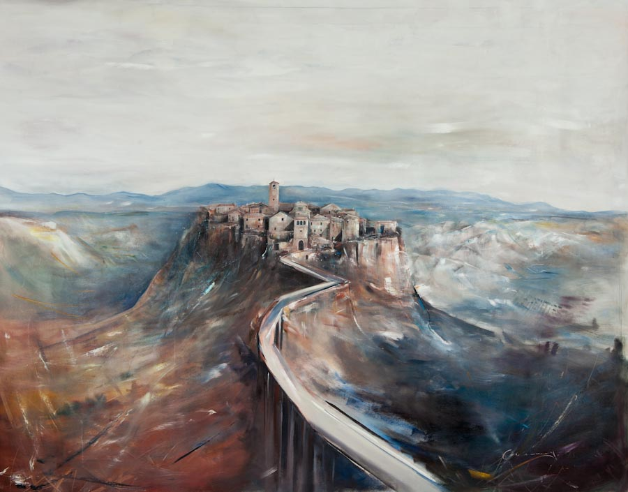 Civita di Bagnoregio, 2011, oil on canvas by Victor Greenaway