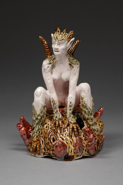Reptile Woman, 2010, stoneware, glaze, lustre, H21cm x W 11cm.jpg