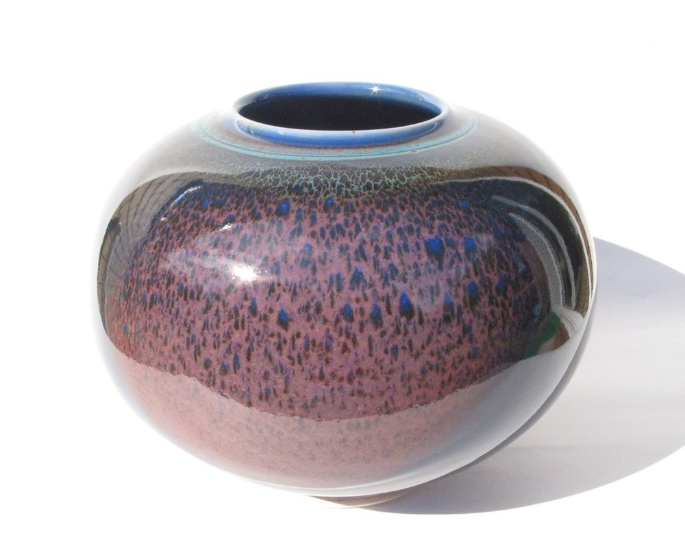Arnaud Barraud,  Round Vase,  stoneware, blue, tenmoku, copper red and green glazes, H22 x W26cm SOLD