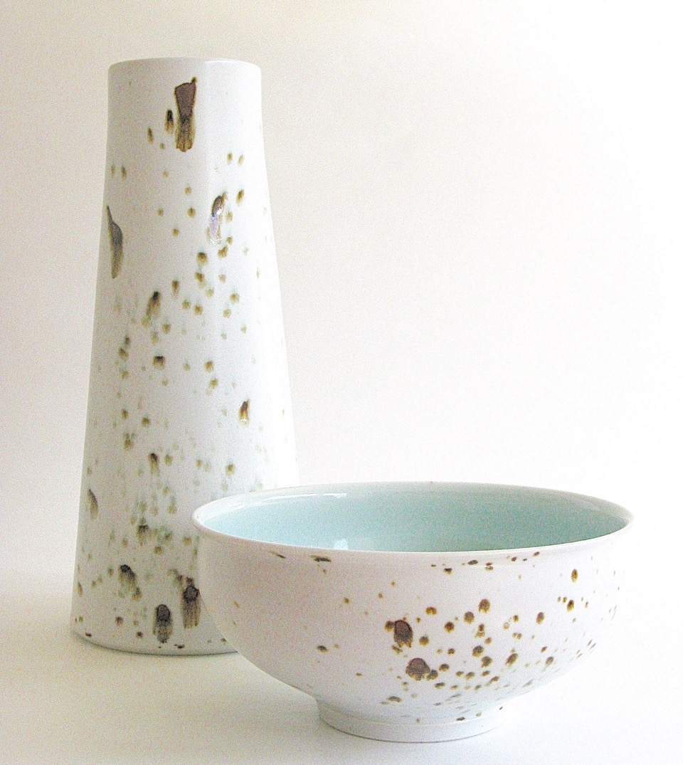 Arnaud Barraud,  Vase & Bowl , porcelain, iron oxide, celadon and eggshell glazes, vase H28cm, bowl H8.5cm SOLD