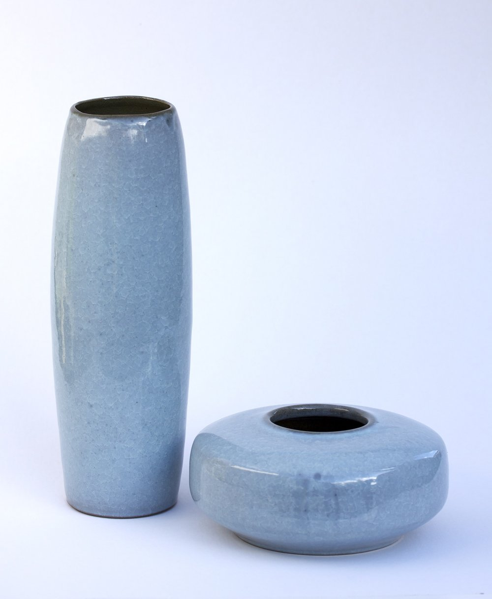 Vase Series, fishscale glaze, varying sizes, 300mm h.jpg