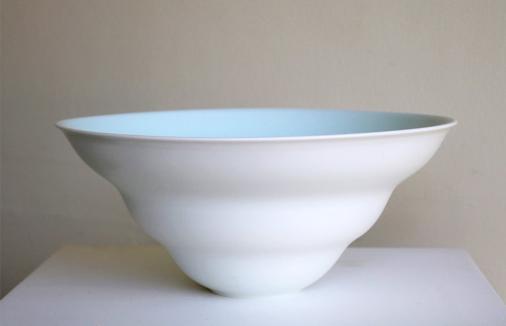 Arnaud Barraud,  Large Porcelain Bowl,  (v with curves) porcelain, celadon and eggshell glazes AVAILABLE