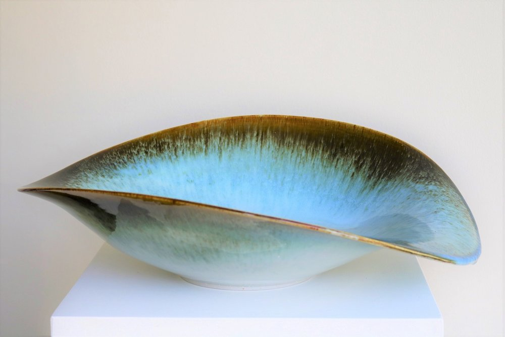 Brian Keyte,  Oceanic,  stoneware, temoku and salted chun glazes, H16 x W53.5 x D47cm, 2018 SOLD