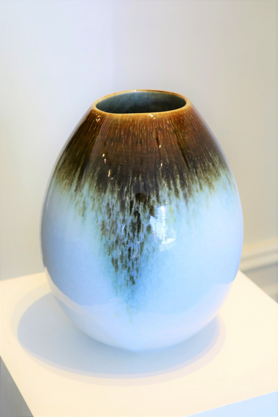 Brian Keyte,  Teardrop,  stoneware, temoku and salted chun glazes, H 25 x W18.5cm 2018 AVAILABLE