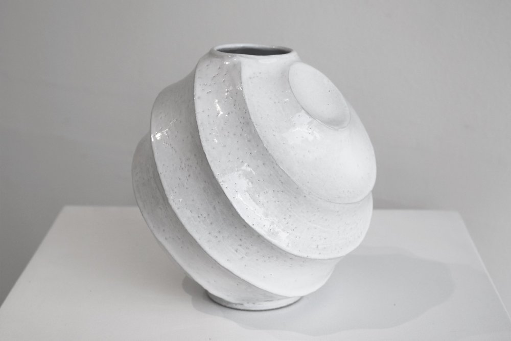 Terunobu Hirata,  Tilted Facet Vase,  stoneware, shirahagi glaze, H20.5cm, 2017 AVAILABLE