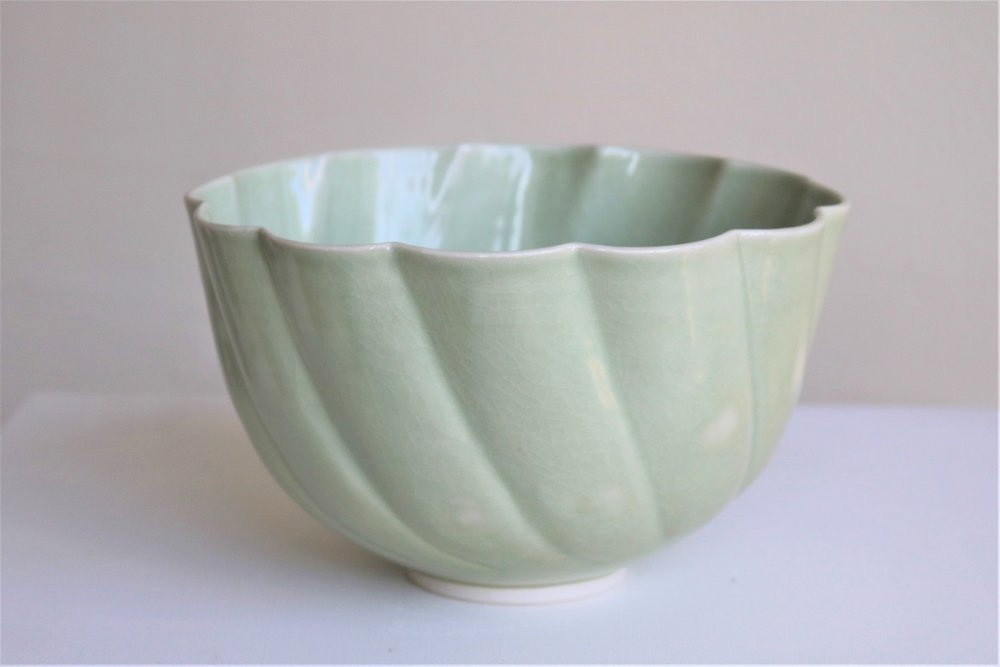 Terunobu Hirata, Rinka Bowl,  porcelain, pale celadon glaze, H12.5 x D20.5cm, 2018 AVAILABLE