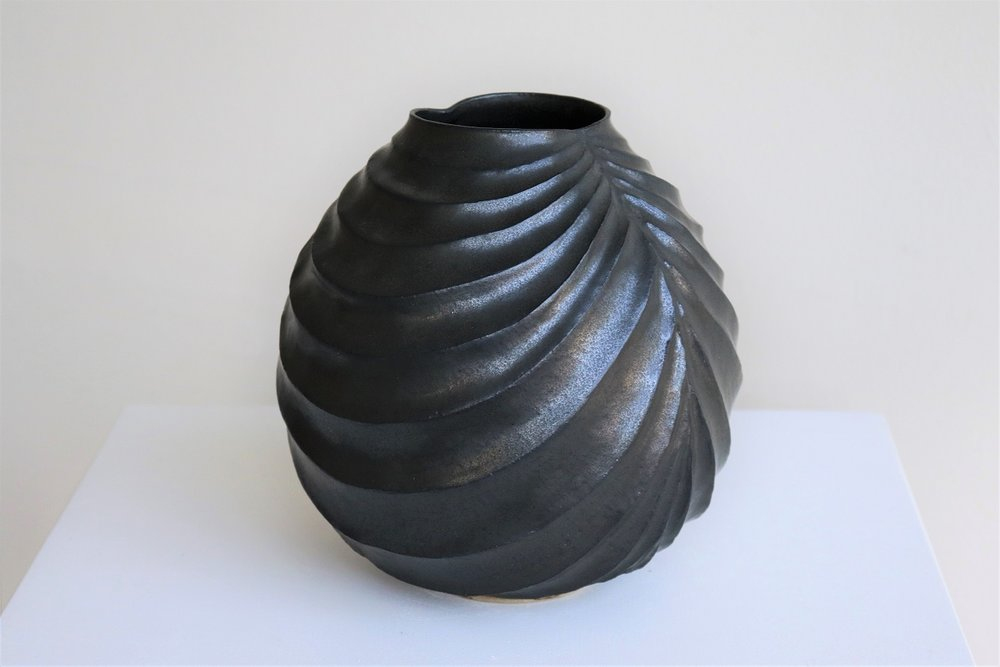 Terunobu Hirata,  Black Robe,  stoneware, black matt glaze, H21cm, 2017 AVAILABLE