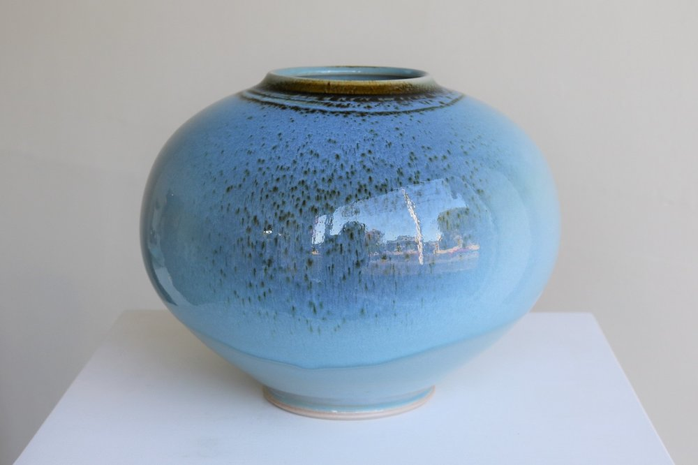 Arnaud Barraud,  Round Vase,  stoneware, chun and tenmoku glazes AVAILABLE