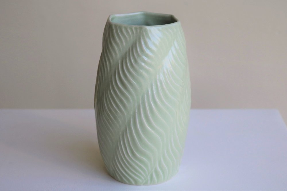 Terunobu Hirata,  Carved Wave,  porcelain, pale celadon glaze, H18cm, 2018 SOLD