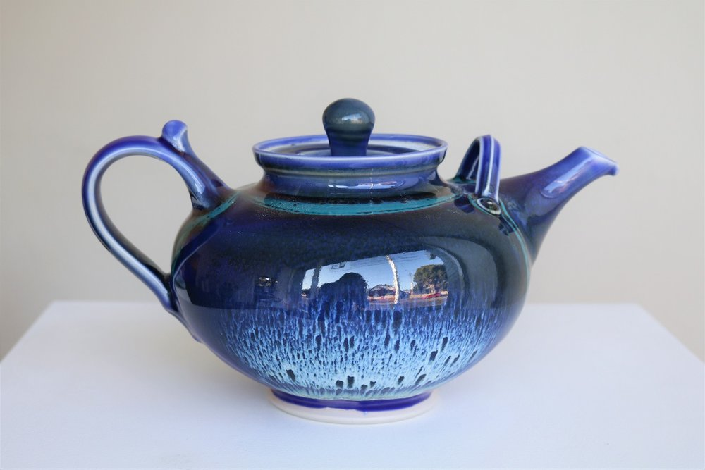 Arnaud Barraud,  Teapot,  stoneware, blue, tenmoku, copper red and green glazes AVAILABLE