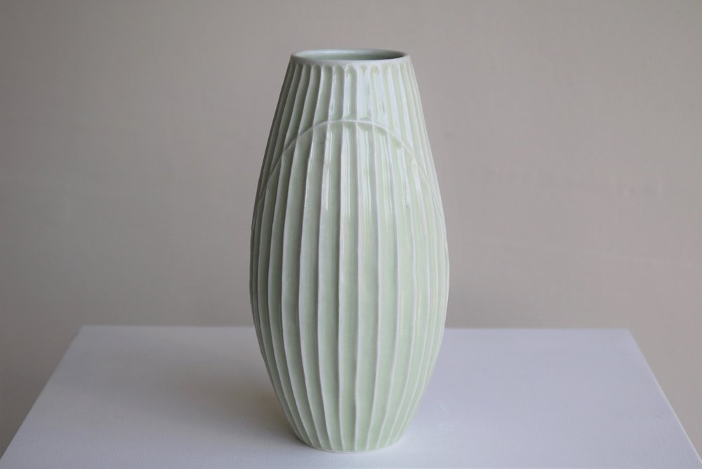 Terunobu Hirata,  Fluted,  porcelain, pale celadon glaze, H23cm, 2018 AVAILABLE