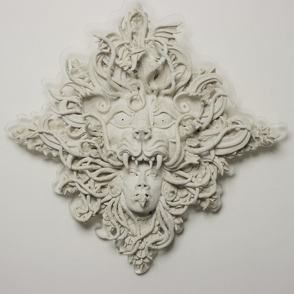 Summoning the Muse, 2004, stoneware, glaze, perspex mount, H67 x W70 x D13cm AVAILABLE