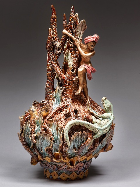 Close Escape (Cambodian Series), 2014, stoneware, slip, glaze, bronze wax, gold wax H49 x W24 x D27cm AVAILABLE