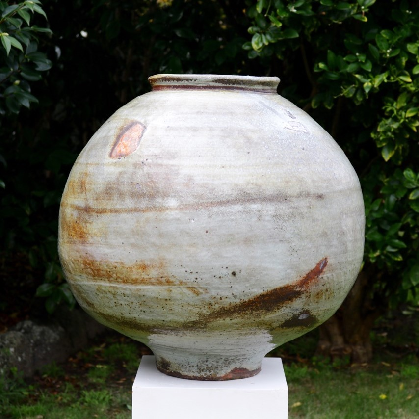 Kirk Winter 6.  Large Feldspar Jar  (Thinking of the Moon) 2017, wood fired stoneware, Hallam fire clay, Axedale ball clay, Clunes feldspar, H 59 x Dia 63cm