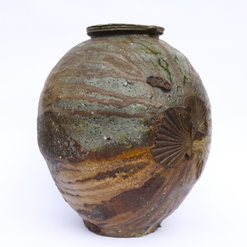 Kirk Winter 10.  Natural Ash Jar,  2017, wood fired stoneware, Hallam fire clay, Blackwood, Black Wattle, Cedar Wattle, Swamp Gum, Pinus radiata, H 34 x Dia 29cm SOLD