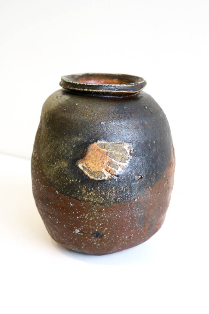 Kirk Winter 35.  Natural Ash Jar,  2015, wood fired stoneware, applied slip, clays of Bombala NSW, Monastery Kiln