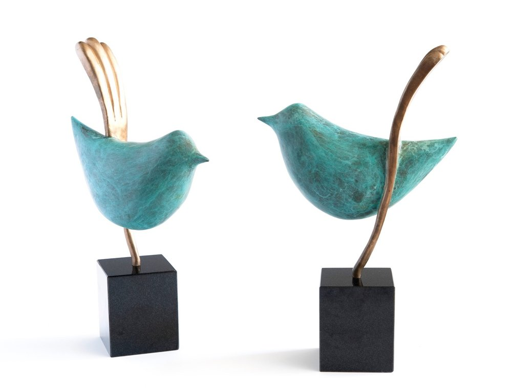 Ted Secombe 60.  Wrens,  bronze, copper patina, black granite base, H46 x W28 each