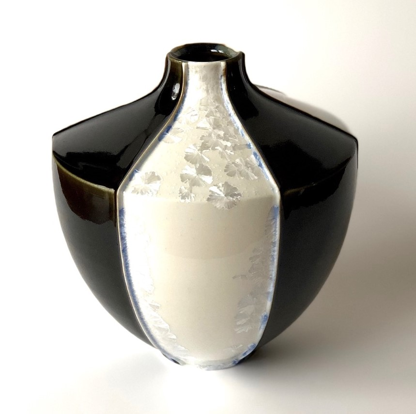 Ted Secombe 45.  Kimono series , 2018, porcelain, white gloss crystalline glaze with black monochromatic panels, H26 x H24cm