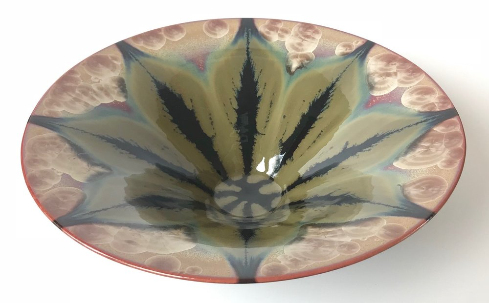 Ted Secombe 10.  Flared Bowl, Floral Series,  2018, porcelain, burgundy crystalline glaze with green and black flow glaze, H12 x W42cm