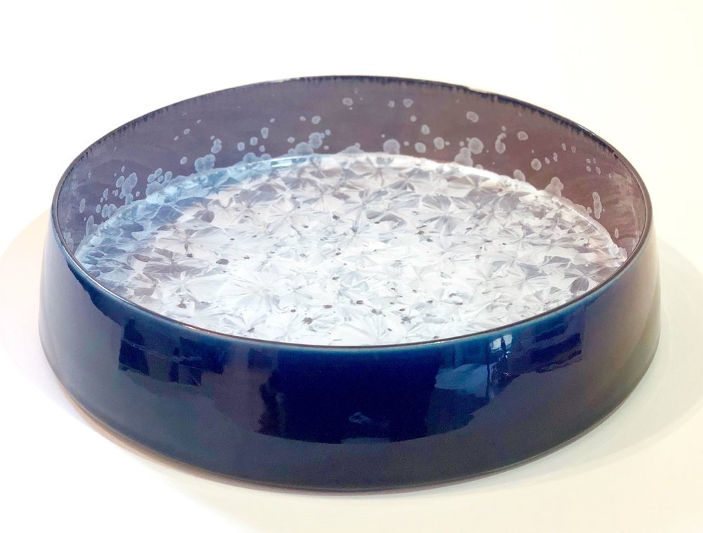 Ted Secombe 7.  Flat Bowl,  2018, porcelain, grey crystalline glaze interior with black monochromatic exterior, H8 x W38cm