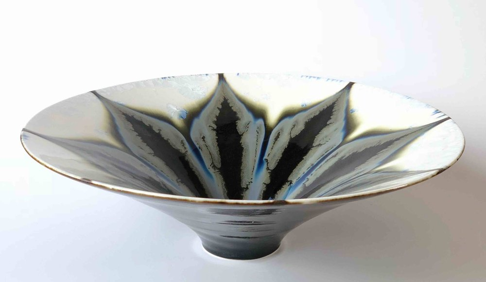 Ted Secombe, 58.  Flared Bowl Floral Series,  2018,   porcelain, white crystalline glaze, black monochromatic flow glaze, H15 x W46cm