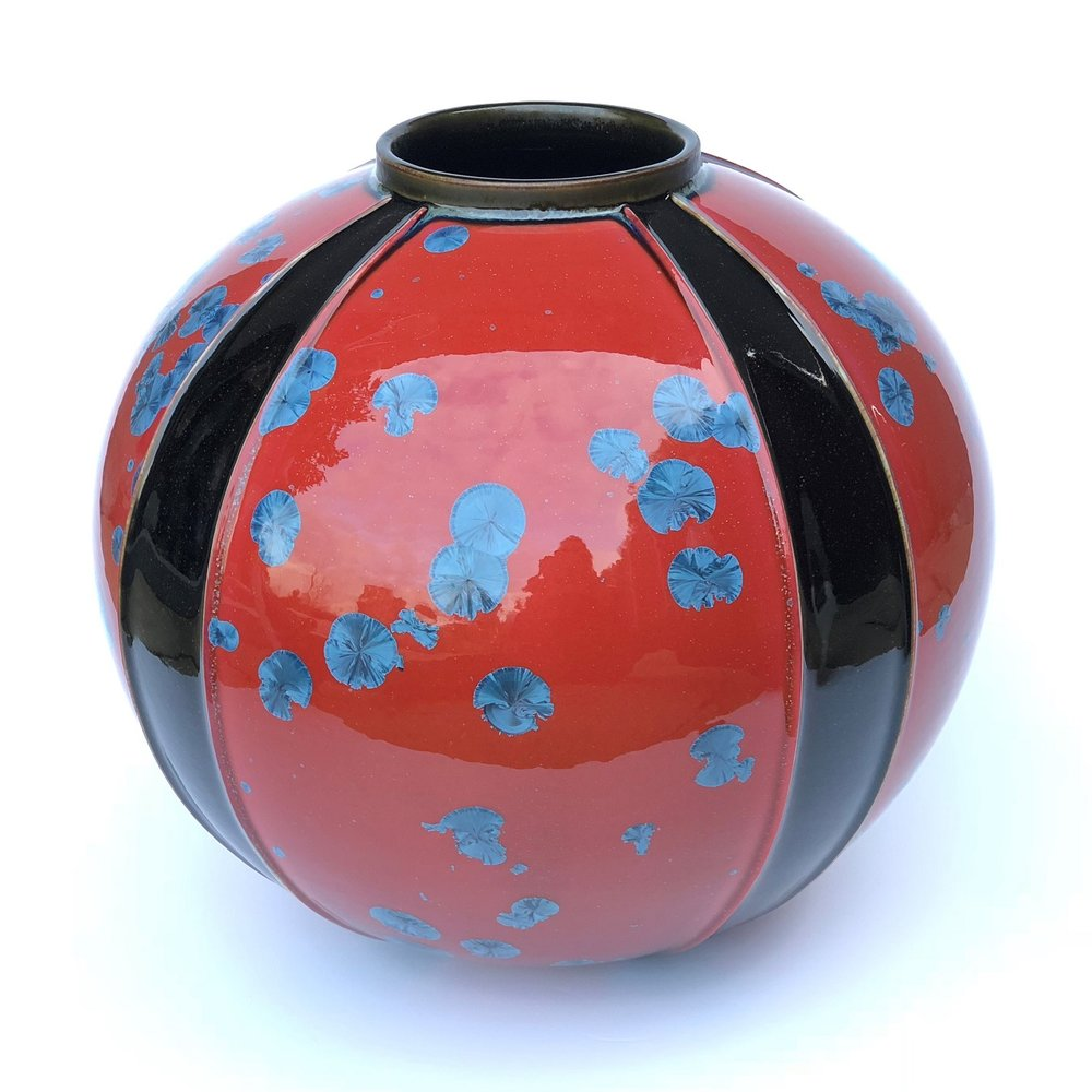 Ted Secombe 53.  Round Form, Kimono Series , 2018, porcelain, blue on red crystalline glaze with black monochromatic panels, H32 x W30cm