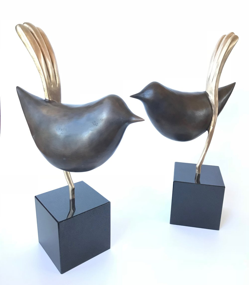 Ted Secombe 61.  Wrens,  bronze, bronze finish, black granite base, H46 x W28 each