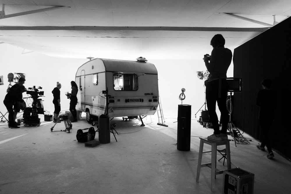 A BTS of me getting a production still from inside the Caravan,cant wait to be able to share the stills from this shoot! (yes I needed a stool to stand on as usual)