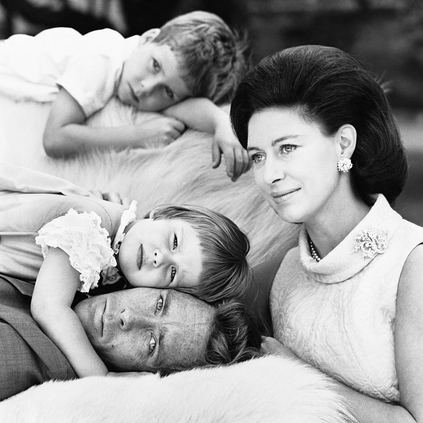 Princess Margaret wears her lichen brooch by Andrew Grima in a family portrait, 1967