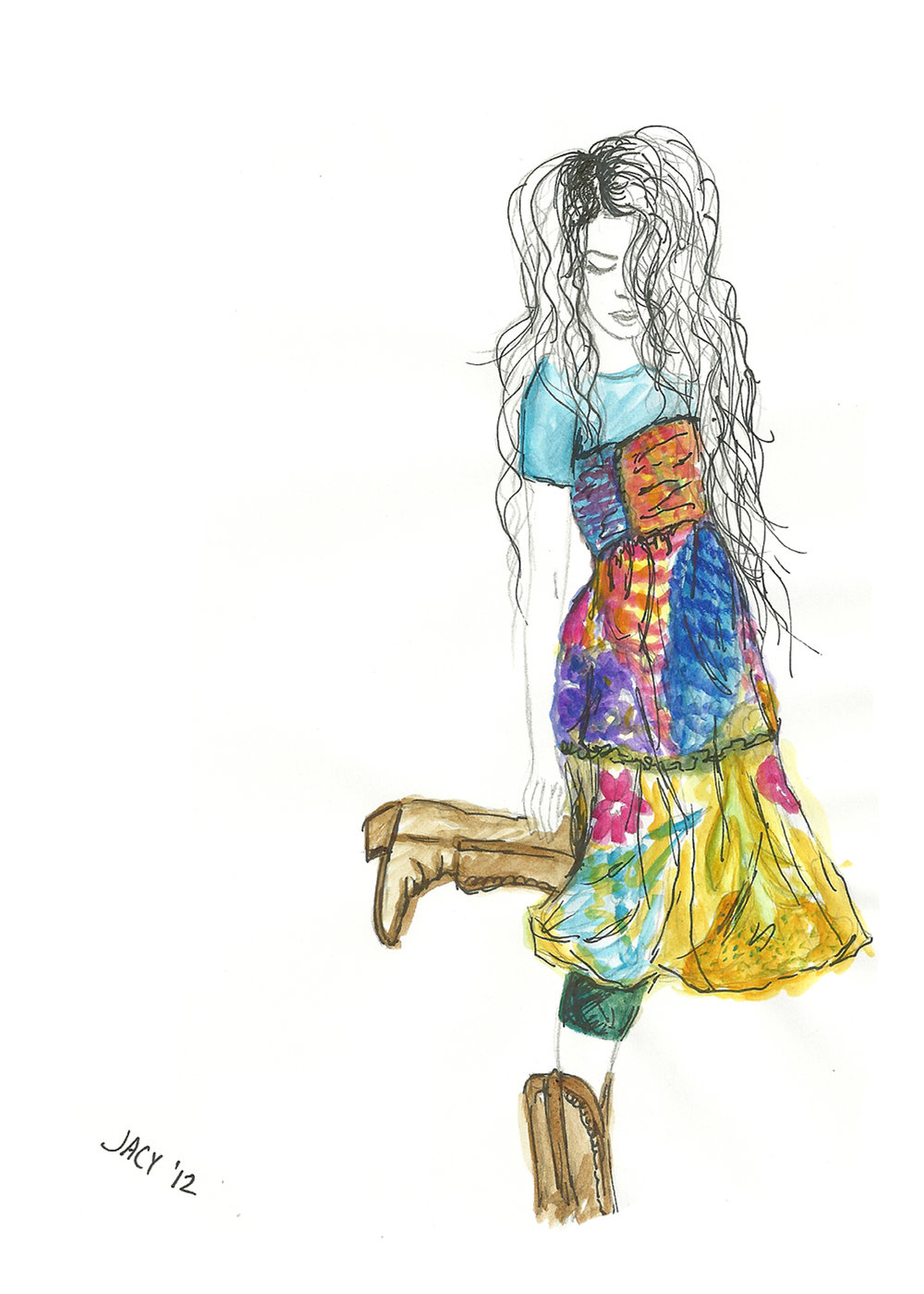 Vintage Floral Dress & Cowboy Boots- 5x7.jpg