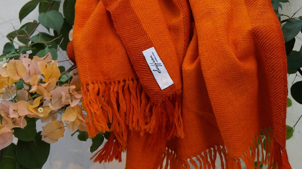 Handloom Woven Scarves and Shawls Using Eco-friendly Dyes and Natural Fabrics -